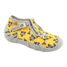 Befado obuwie dziecięce 110P393 szare żółte 1