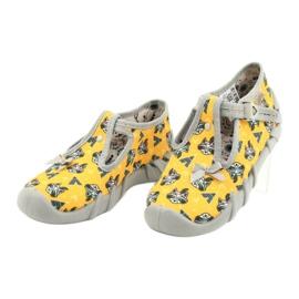 Befado obuwie dziecięce 110P393 szare żółte 3