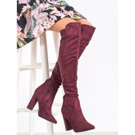 Sweet Shoes Wysokie Kozaki W Szpic czerwone 2