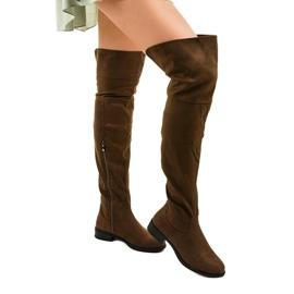 Khaki kozaki płaskie za kolano Wysless zielone 1