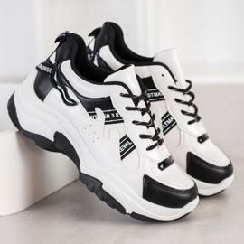 SHELOVET Wygodne Sneakersy Z Eko Skóry białe czarne 2