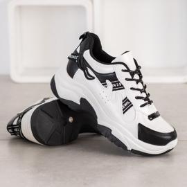 SHELOVET Wygodne Sneakersy Z Eko Skóry białe czarne 1