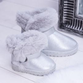 FRROCK Ocieplane Dziecięce Botki Śniegowce Z Futerkiem Srebrne JellyBeans srebrny 3