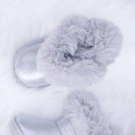 FRROCK Ocieplane Dziecięce Botki Śniegowce Z Futerkiem Srebrne JellyBeans srebrny 2