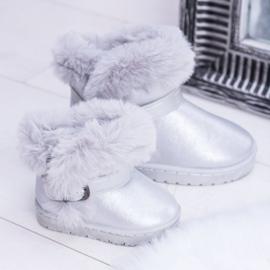 FRROCK Ocieplane Dziecięce Botki Śniegowce Z Futerkiem Srebrne JellyBeans srebrny 5