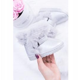 FRROCK Ocieplane Dziecięce Botki Śniegowce Z Futerkiem Srebrne JellyBeans srebrny 1