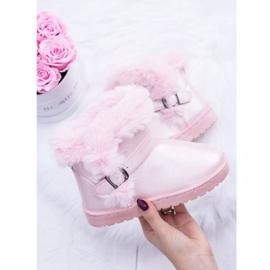 BUGO Ocieplane Dziecięce Botki Śniegowce Z Futerkiem Różowe JellyBeans 2