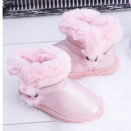 BUGO Ocieplane Dziecięce Botki Śniegowce Z Futerkiem Różowe JellyBeans 3