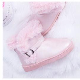 BUGO Ocieplane Dziecięce Botki Śniegowce Z Futerkiem Różowe JellyBeans 1