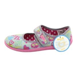 Befado  obuwie dziecięce 945Y430 różowe szare wielokolorowe 5