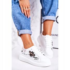 Damskie Sportowe Buty Sneakersy Z Muchą Białe Srebrne Amour 2
