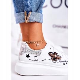 Damskie Sportowe Buty Sneakersy Z Muchą Białe Srebrne Amour 4