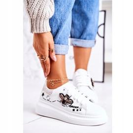 Damskie Sportowe Buty Sneakersy Z Muchą Białe Srebrne Amour 3