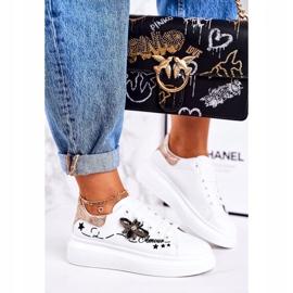 Damskie Sportowe Buty Sneakersy Z Muchą Białe Złote Amour 1
