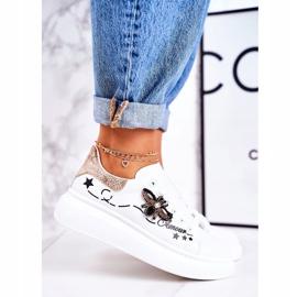 Damskie Sportowe Buty Sneakersy Z Muchą Białe Złote Amour 3