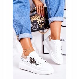 Damskie Sportowe Buty Sneakersy Z Muchą Białe Złote Amour 2