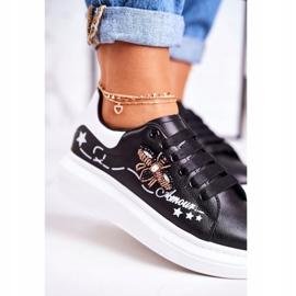 Damskie Sportowe Buty Sneakersy Z Muchą Czarne Amour 4