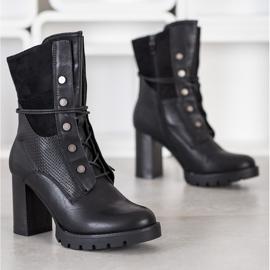 Super Me Botki Na Słupku Fashion czarne 1
