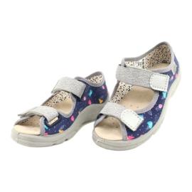 Befado obuwie dziecięce  869X144 niebieskie srebrny szare 3