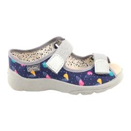 Befado obuwie dziecięce  869X144 niebieskie srebrny szare 1