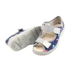 Befado obuwie dziecięce  869X144 niebieskie srebrny szare 4