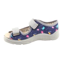 Befado obuwie dziecięce  869X144 niebieskie srebrny szare 2
