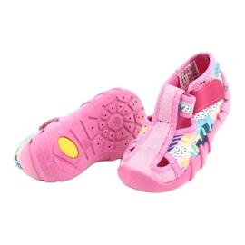 Befado obuwie dziecięce 190P097 niebieskie różowe srebrny żółte 4