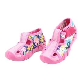 Befado obuwie dziecięce 190P097 niebieskie różowe srebrny żółte 3