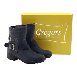 Botki damskie zimowe Gregors 544 granatowe niebieskie wielokolorowe 4