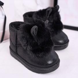 Dziecięce Śniegowce Ocieplane Futerkiem Z Uszkami Czarne Betty 2
