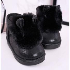 Dziecięce Śniegowce Ocieplane Futerkiem Z Uszkami Czarne Betty 1