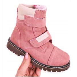 Apawwa Dziecięce Traperki Botki Ocieplane Futerkiem Różowe Emma 5
