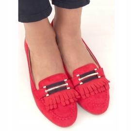 Mokasyny damskie czerwone 88-381 Red 2