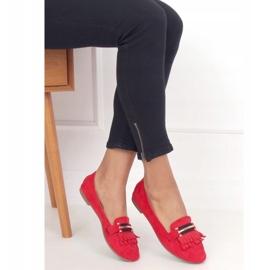 Mokasyny damskie czerwone 88-381 Red 3