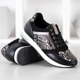 Kylie Modne Sneakersy białe czarne szare 2