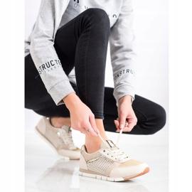 Kylie Ażurowe Buty Sportowe beżowy złoty 1