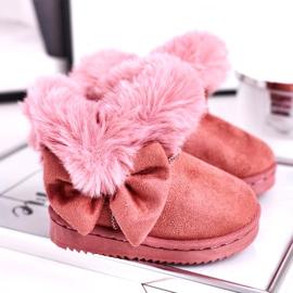 FRROCK Dziecięce botki śniegowce z futerkiem kokardką różowe Vella 1