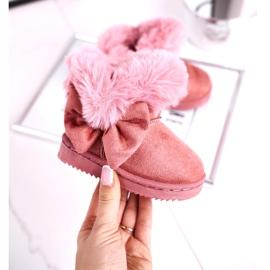 FRROCK Dziecięce botki śniegowce z futerkiem kokardką różowe Vella 2