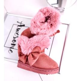 FRROCK Dziecięce botki śniegowce z futerkiem kokardką różowe Vella 3