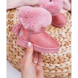FRROCK Dziecięce Botki Śniegowce z Futerkiem Różowe Kiks 1