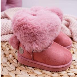 FRROCK Dziecięce Botki Śniegowce z Futerkiem Różowe Kiks 2