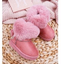 FRROCK Dziecięce Botki Śniegowce z Futerkiem Różowe Kiks 3