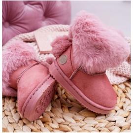 FRROCK Dziecięce Botki Śniegowce z Futerkiem Różowe Kiks 5