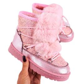 FRROCK Dziecięce Botki Śniegowce Z Futerkiem Pink Minnie Mouse różowe srebrny 3