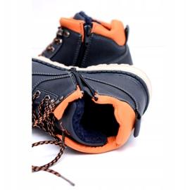 Vico Granatowe Dziecięce Chłopięce Ciepłe Trzewiki z Polarem Billy pomarańczowe 3