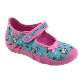 Befado obuwie dziecięce 109P207 niebieskie różowe wielokolorowe 1
