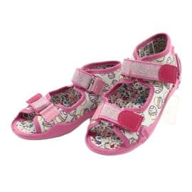 Befado obuwie dziecięce 242P099 różowe szare wielokolorowe 3