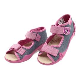 Befado żółte obuwie dziecięce 342P017 różowe szare 3