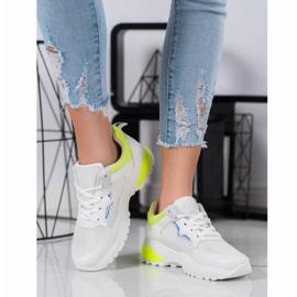 SHELOVET Sneakersy Z Żółtymi Wstawkami białe 1