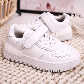 Apawwa Dziecięce Sportowe Buty Na Rzep Białe Airy 5